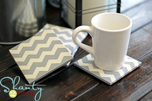 DIY chevron Coasters.  Paint on a G and you have UGA coasters, N and they are monogrammed!