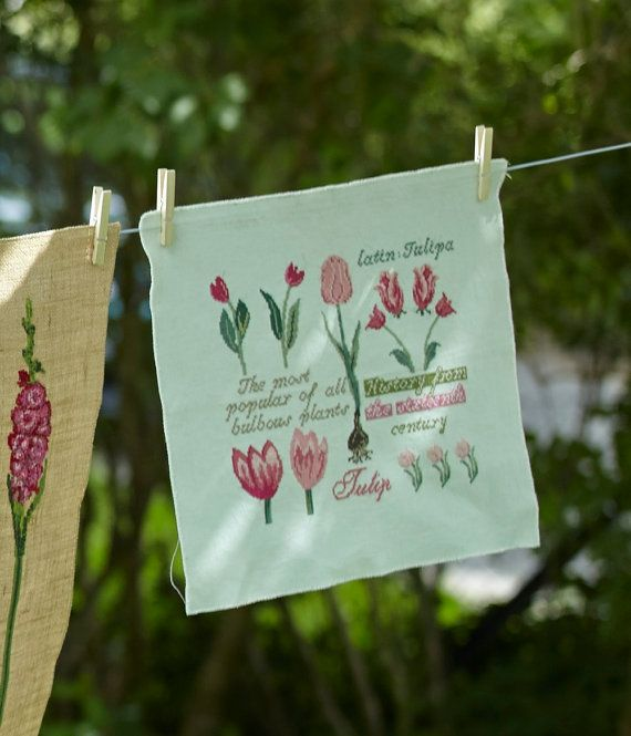 TULIP SAMPLER  pink cross stitch pattern wall by anetteeriksson, $7.50