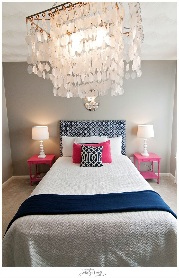 Grey and white and pink bedroom - Navy And Pink Bedroom With Chandelier