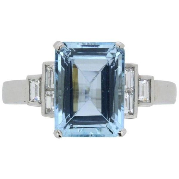Preowned Vintage Aquamarine Ring With Diamond Set Shoulders, Circa... ($6,210) ❤ liked on Polyvore featuring jewelry, rings, engagement rings, multiple, art deco engagement rings, aquamarine rings, emerald cut diamond ring, pre owned engagement rings and white diamond ring