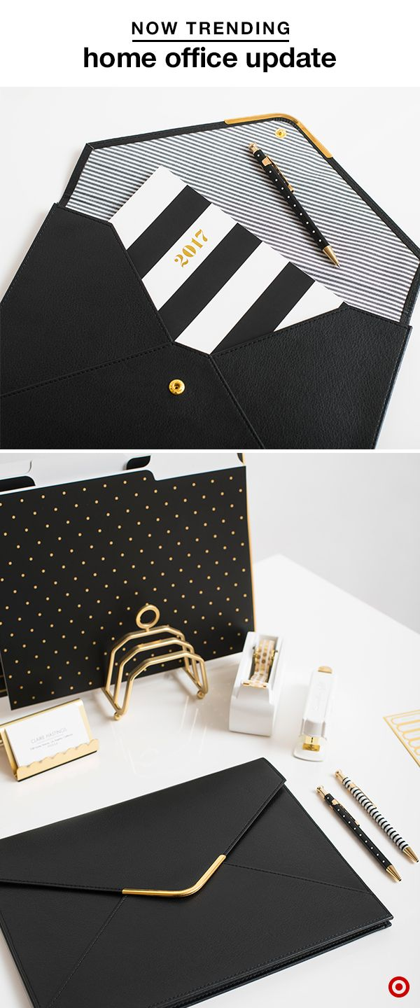 Work at home like a pro with our collection by Sugar Paper. Their sophisticated black, white and gold options, like folders, folios, card holders, pens, staplers and more, will get you motivated (and prepped for 2017). Your home office has never been more chic—and you'll have everything at the ready.