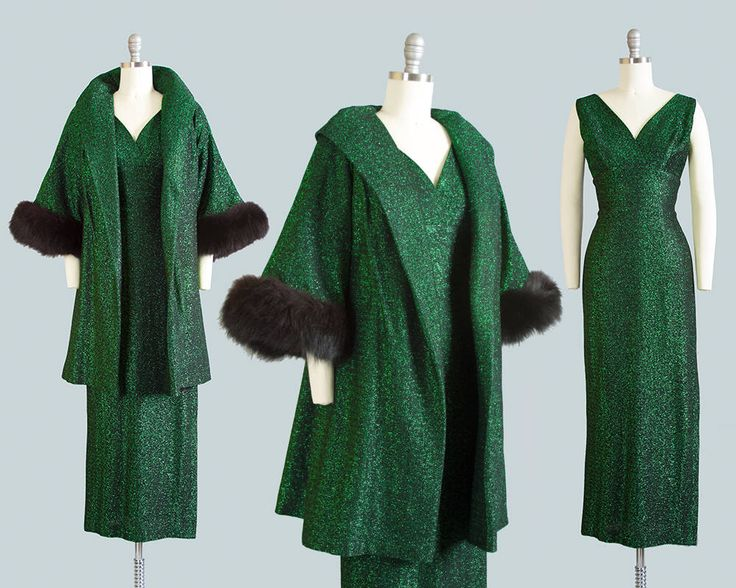 Vintage 1960s Dress Swing Coat Set   60s Metallic Emerald Green Lurex Fox Fur Maxi Holiday Party Gown Matching Sparkly Glam VLV (small) by BirthdayLifeVintage on Etsy https://www.etsy.com/ca/listing/565431183/vintage-1960s-dress-swing-coat-set-60s