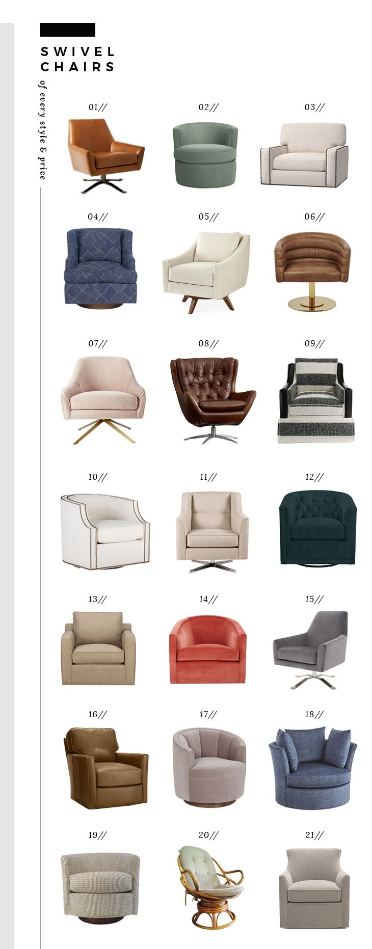 comfortable swivel chairs of every style and price