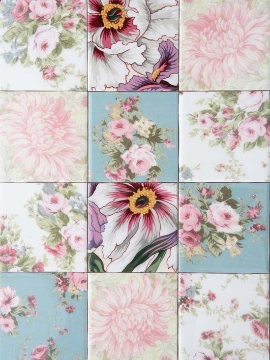 DIY::Decoupage fabric onto tiles We have so much fabric we could do an entire wall with out repeating!!! This is definitely a cute idea. I wonder if we could use this for the idea in nannys kitchen? :)