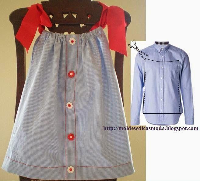 A partir de uma camisa de homem faça um vestido de criança. A confecção deste vestido é fácil, só tem que cortar a camisa como sugere a figura. A fita colo