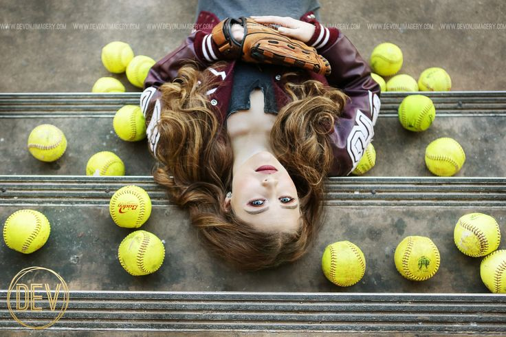 Senior picture portrait ideas graduation softball steps laying down pose sports