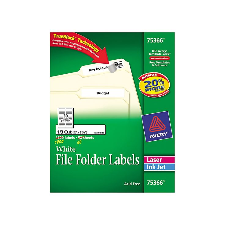 Avery 75366, Permanent File Folder Labels, TrueBlock, Laser/Inkjet, 2/3 x 3 7/16, 1800/Box, White