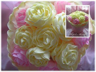 Róże z bibuły. DIY - Handmade Craft. kursykrokpokroku.blogspot.com#kwiatyzbibuły #różezbibuły #craft #DIY