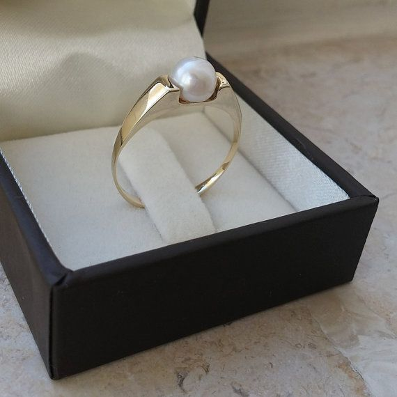 Gold pearl ring pearl engagement ring 14k gold pearl by GilatArtzi