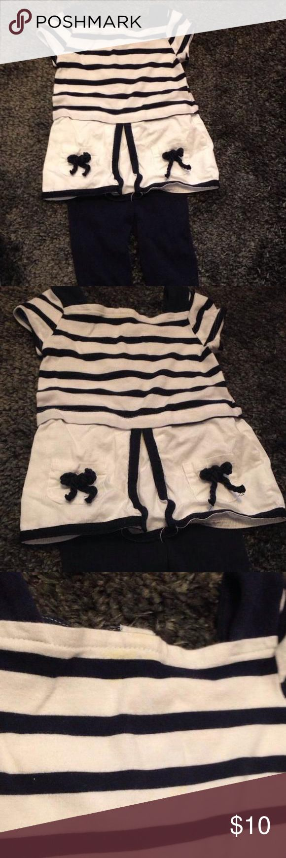 Nautical outfit Super cue nautical outfit. Short sleeve top with cropped/Capri leggings. 2 buttons on back of top. Small stain near the top of the shirt. Not really noticeable. I can try to get it out before shipping. Maggie & Zoe Dresses