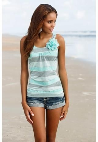 Striped tank with chiffon flower. Also comes in pink