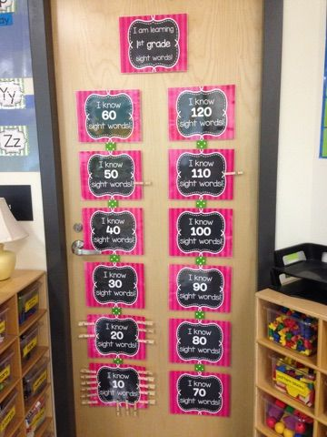 Sight Word Data Wall- the kids LOVE this!