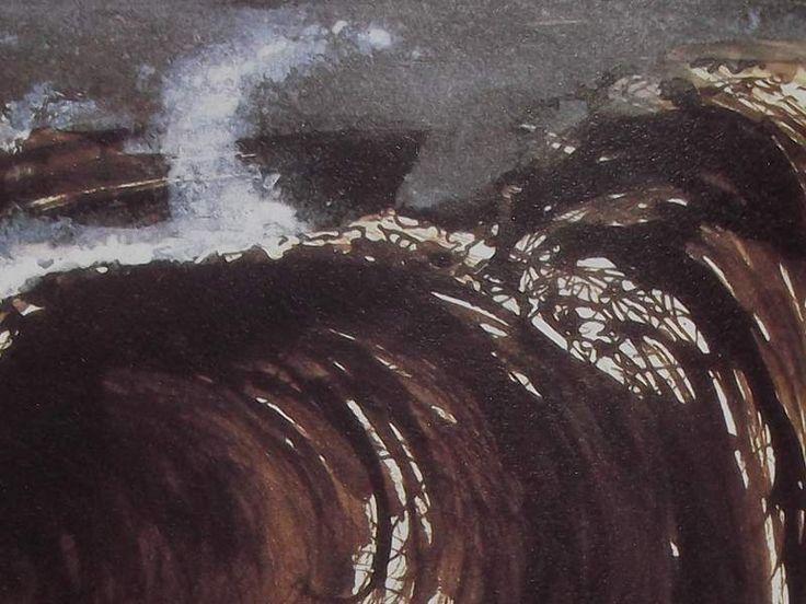 """Ce détail d'un dessin de Victor Hugo représente une crête de vague. Une gerbe d'écume en forme de corne la surmonte, une sorte de tête de cheval apparaît sur la droite du dessin, surgi de la vague (est-ce Pégase ?) - Lié au poème """"Les Mages"""" du recueil """"Les Contemplations"""" (""""Au Bord de l'infini"""") de ce même Victor Hugo."""