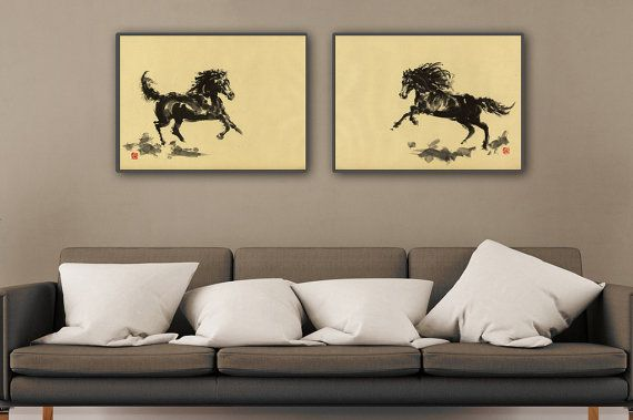 Black Horses Set of 2 Arab Horse Horse Art Print by SamuraiArt #sumie #art #painting #horseart #horse #abstract