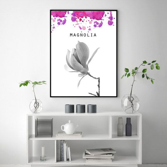 Welcome 1st Spring Day!Magnolia poster, Flower print, Black white print, PRINTABLE art, Watercolor wall art, Flower decor, Floral wall decoration, Magnolia poster