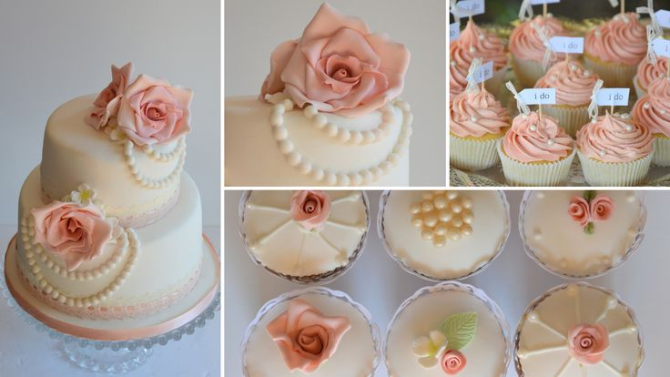 wedding cake, blush pink and pears with lace and cupcakes
