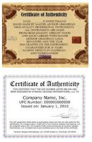 Certificate of Authenticity (COA). Something to consider including!