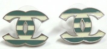 Chanel Earrings CC Logo Green White Striped Silver Hardware Enamel Oversized Jumbo 13C Nautical French Parisian. Get the lowest price on Chanel Earrings CC Logo Green White Striped Silver Hardware Enamel Oversized Jumbo 13C Nautical French Parisian and other fabulous designer clothing and accessories! Shop Tradesy now