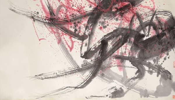 Fang Zhaolin (1914-2006): Spring Abstract Mounted, ink and color on paper