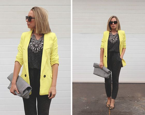Sheinside Blazer, Zara Jumpsuit, Fred Perry Bag, Zara Flats, Zara Necklace, H&M Rings