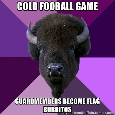 Cold football game. Guard members become flag burritos.