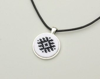 Cross stitch necklace Cross stitch pendant Ethnic by AliinTo