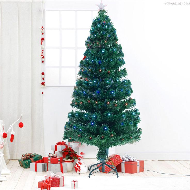 HOMCOM 5ft (150cm) Fibre Optic Artificial Christmas Tree w. LED Lights | aosom.co.uk
