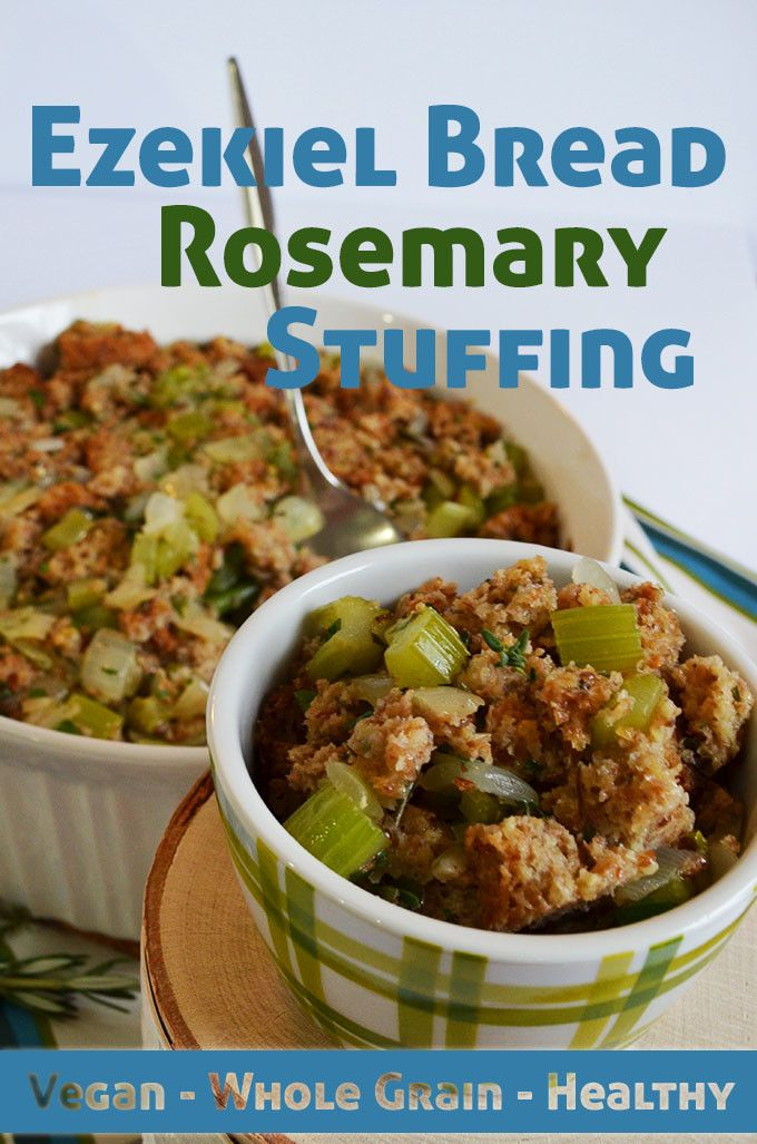 This Ezekiel Bread Rosemary stuffing gets a great flavor from celery & onions and is made with healthy whole grains. Perfect for a Thanksgiving side dish.