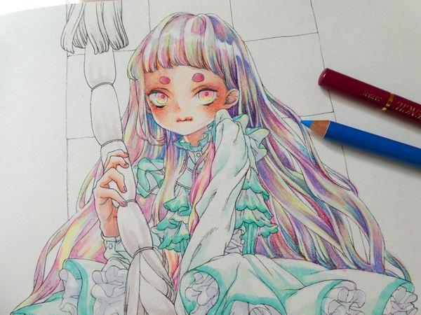 F Id Ofukusuke j Plain 色鉛筆 色鉛筆 イラスト 色鉛筆 塗り方