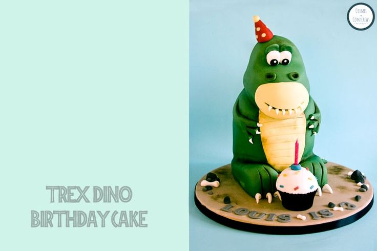 Crumbs and Corkscrews - T-Rex Dinosaur Birthday Cake Tutorial