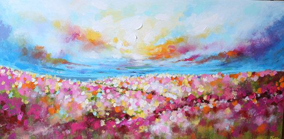 Landscape Painting abstract paintingflower painting by artbyoak1