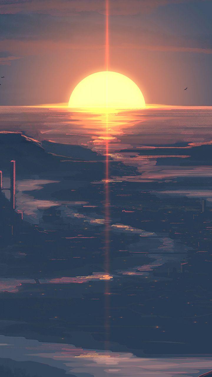 Sunset Castle Landscape Twilight Art Wallpaper Arte Fotos Fondos Tumblr Paisajes