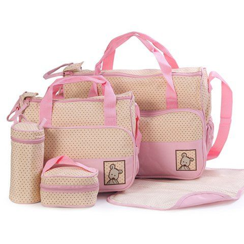 Casual Women's Diaper Bag With Color Matching and Bear Cub Design