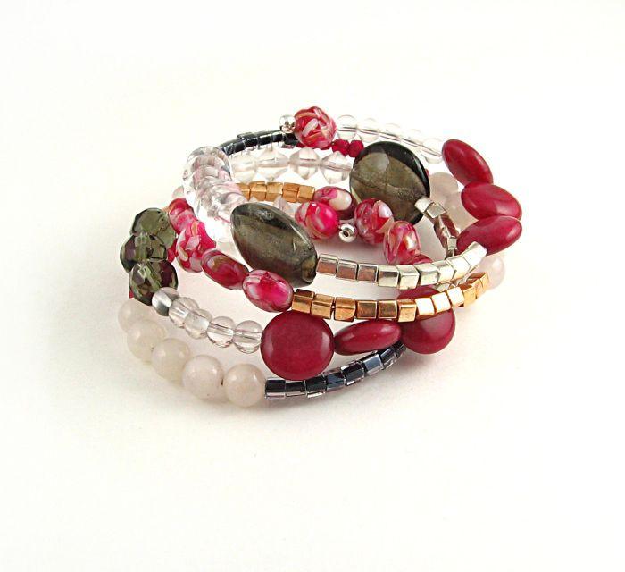 Bracelet rangs multiple Belzebuth framboise blanc taupe argent or