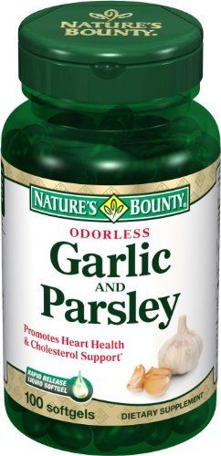 Nature's Bounty Odorless Garlic and Parsley, 100 Softgels (Pack of 6) by Nature's Bounty. $26.99. Amazon.com Product Description      Odorless Garlic and Parsley100 SoftgelsOdorless Garlicand ParsleyThese easy-to-swallow softgels contain breath-freshening parsley plus the plant nutrient chlorophyll--so you can enjoy all that garlic has to offer without the pungent odor.Rapid-release liquid softgels are easy to swallow and provide quick absorption.Nature's Bounty Garlic and Par...