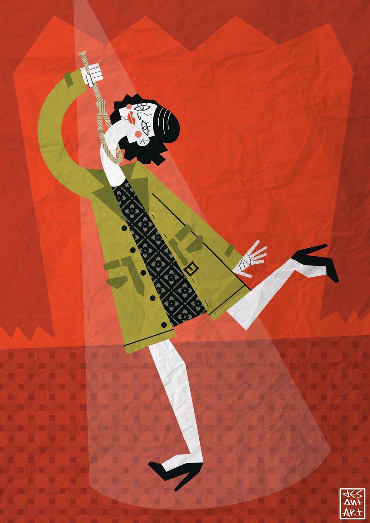 Ida la Suicida by JesAntArt Illustrazione ispirata ad un personaggio inventato dall'attrice Luisanna Vespa  #illustration #actress #suicide #theater #comical