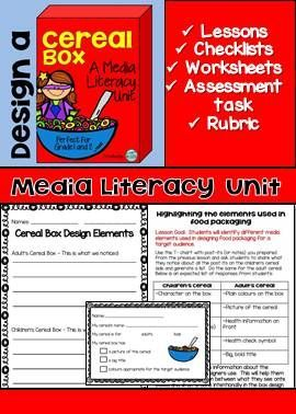 This Media Literacy Unit will have your students analyzing media elements in food packaging and determining target audiences and how they are targeted. They will take what they learn and create their own cereal boxes using the elements they learned. Rubric for assessment included as well.
