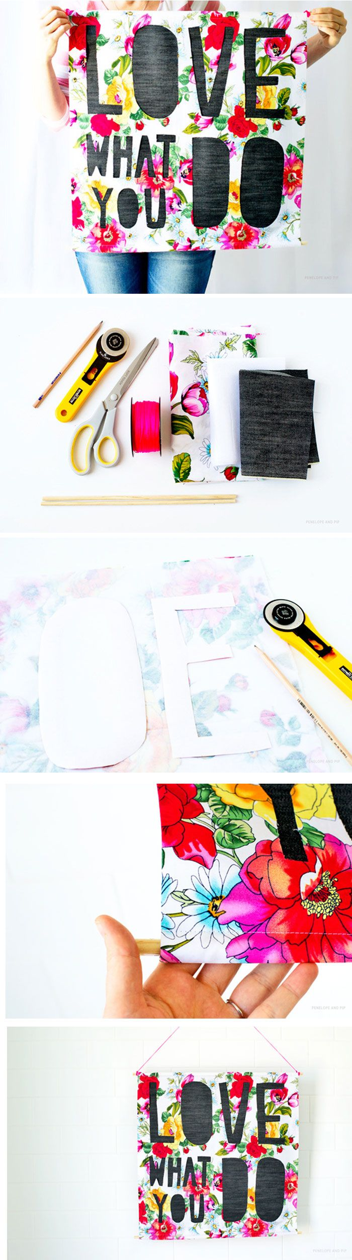 DIY Paper cut-inspired wall hanging - a fun summer project for the dorm or kids/teen room. #backtoschool #dorm
