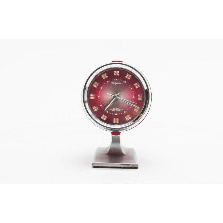 Orologio da tavolo a carica manuale con piedistallo anni 70 colori rosso inox in plastica