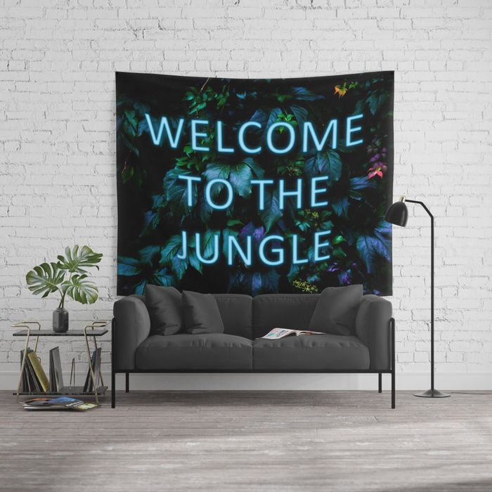 Welcome to the Jungle - Neon Typography Wall Tapestry. #neon #typography #floral #botanical #jungle #forest #nature #flowers #homedecor #tapestry #walltapestry