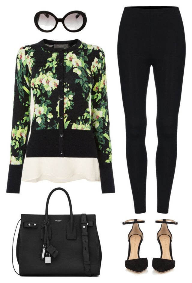 """""""Leggings outfit #9"""" by glamupparties on Polyvore featuring Anine Bing, Yves Saint Laurent, Gianvito Rossi and Prada"""
