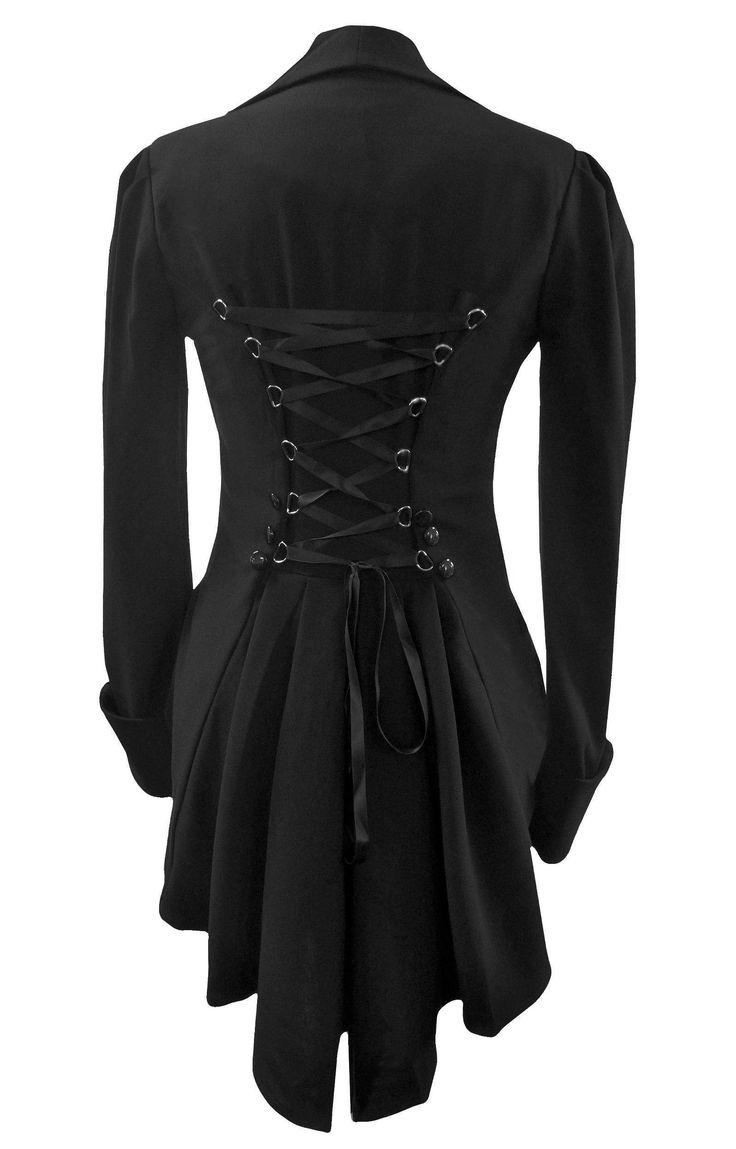 Black Victorian Gothic Corset Fishtail Mock Waistcoat Butler Jacket by Amber Middaugh Coat Sizes 8-30: Amazon.co.uk: Clothing