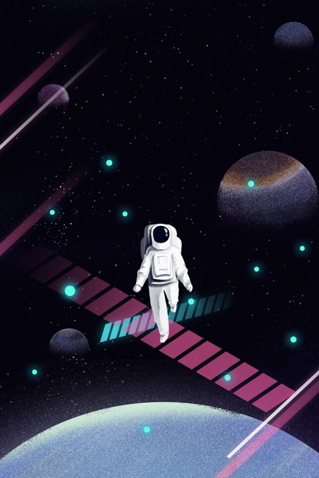 رائد فضاء الكون كوكب الفضاء السماء المليئة بالنجوم رسمت باليد كرتون صورة توضيحية على Pngtree غير محفوظة الحقوق Starry Sky Image Illustration Abstract Iphone Wallpaper
