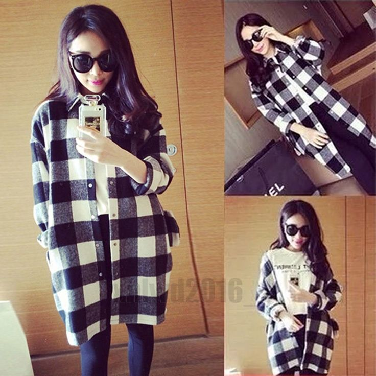 Fashion Women Long Sleeve Plaid Shirt Checks Ladies Korean Top Button Blouse