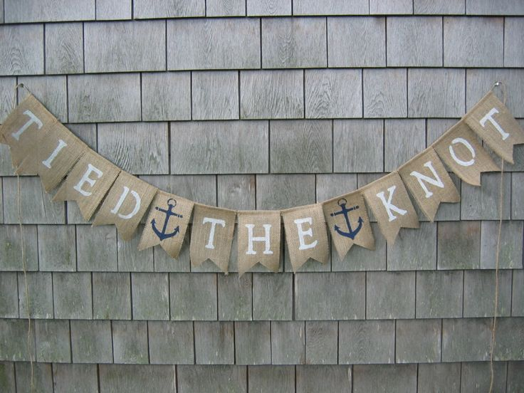 Tied the Knot Banner, Just Married Burlap Banner, Nautical, Wedding Banner, Bridal Shower Decor, Burlap Garland, Beach Wedding, Photo Prop by IchabodsImagination on Etsy https://www.etsy.com/listing/197038584/tied-the-knot-banner-just-married-burlap