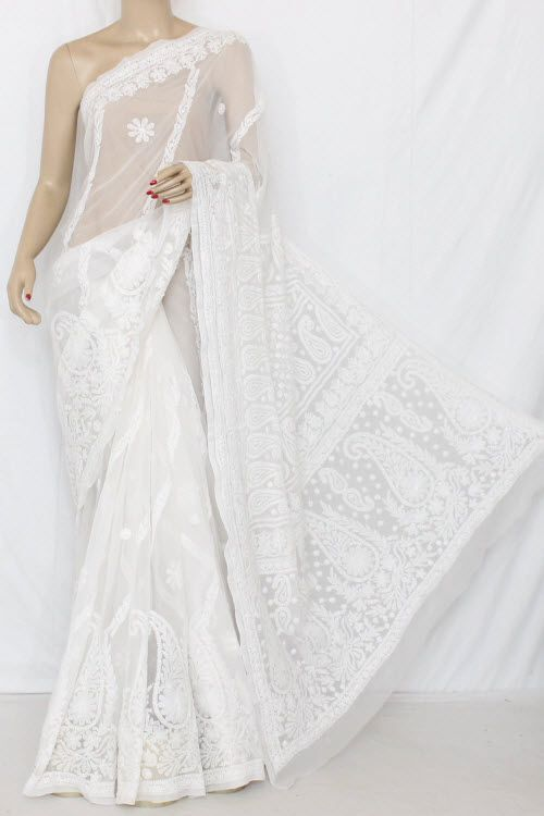 White Exclusive Hand Embroidered Lucknowi Chikankari Saree (With Blouse - Georgette) 13682