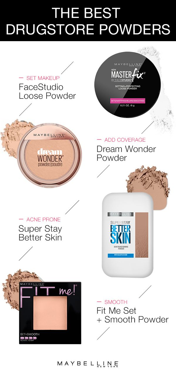With so many amazing drugstore powders by Maybelline, how do you choose one?  This guide helps you choose the right face powder for you!  To set your makeup use Maybelline Master Fix Setting Powder.  To add coverage, use Dream Wonder Powder in your shade.  For acne prone skin, use Better Skin powder with salicylic acid and oil control properties.  To smooth complexion, use Fit Me Set + Smooth Powder.