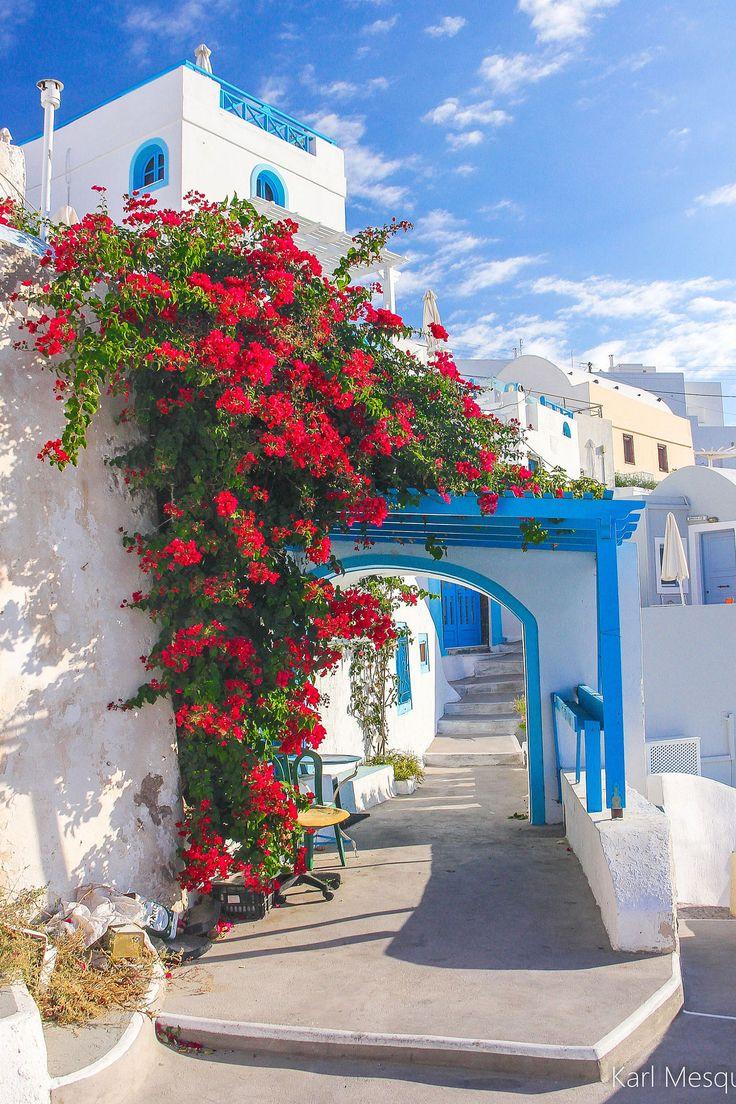 .~Bougainvillea in Santorini, Greece Hermosa vista~.