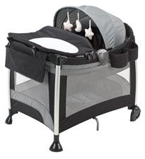 Evenflo Baby Suite Premier Playard  This playard is all about luxury! It has all the amenities that baby and mom would want – a storage organizer; technology like vibrations; music and a nightlight; a changer; a toy bar and canopy. Did we mention that it's super-easy to travel with, too? $99.48 at BabyAge.com