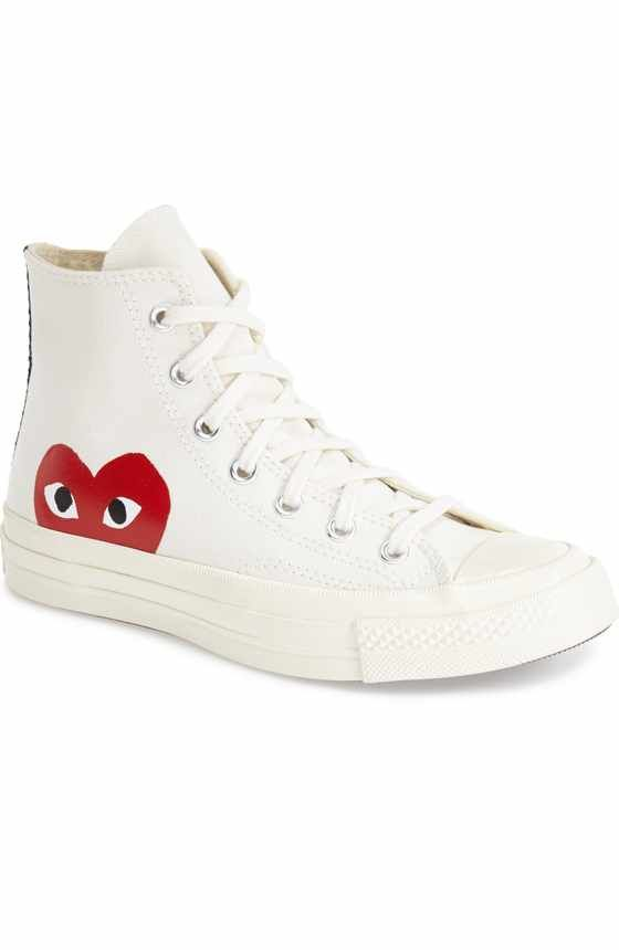 Free shipping and returns on Comme des Garçons PLAY x Converse Chuck Taylor® Hidden Heart Low Top Sneaker (Women) at Nordstrom.com. Cool vintage style elevates a street-ready sneaker stamped with a peekaboo heart. This collaboration between Comme des Garçons PLAY and Converse features classic Chucks styling with a playful, quirky twist—thanks to the imaginations of New York graphic artist Filip Pagowski and Comme des Garçon's own designer Rei Kawakubo.
